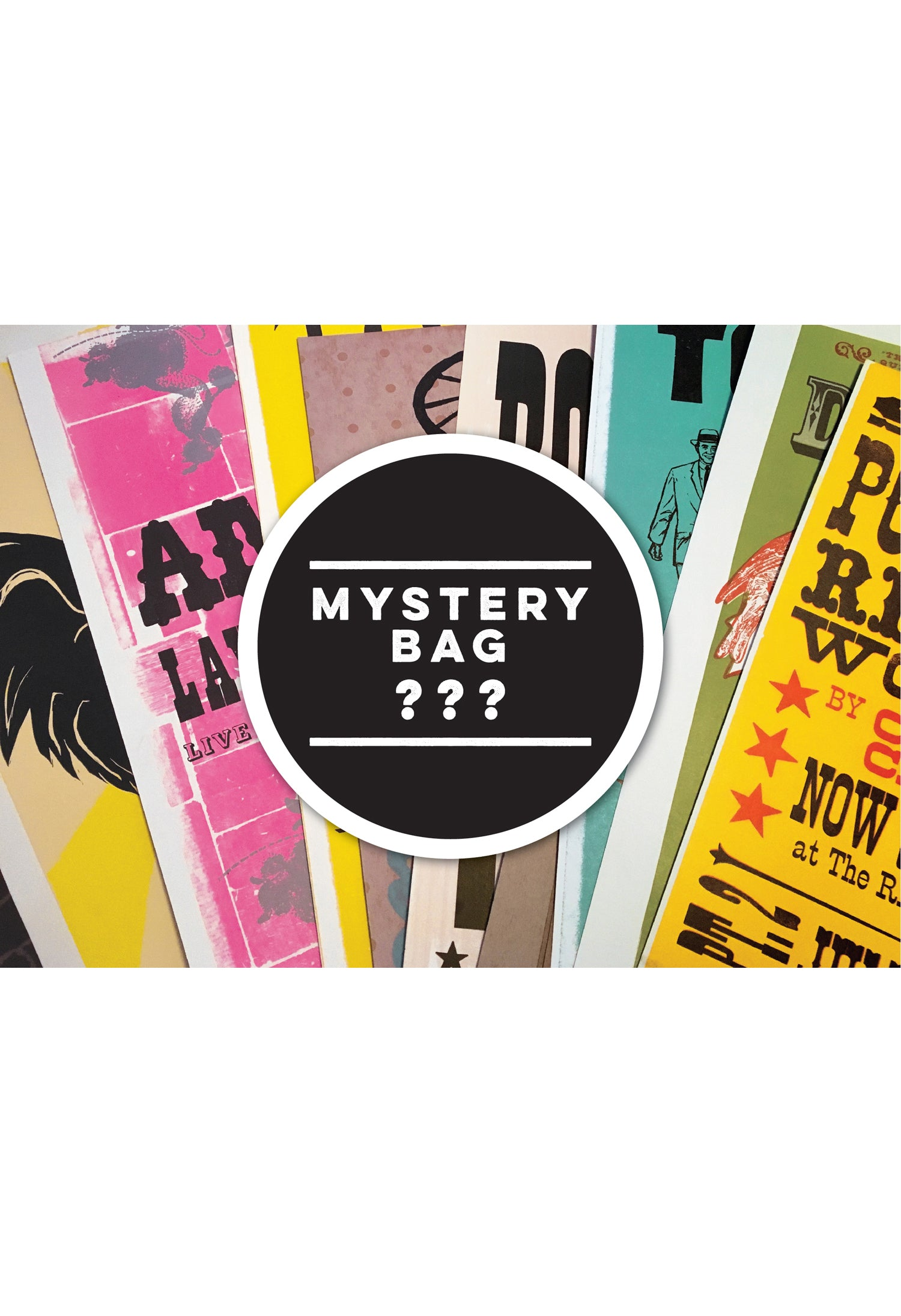 Mystery bag full of Letterpress printed posters. Six prints for only $25!