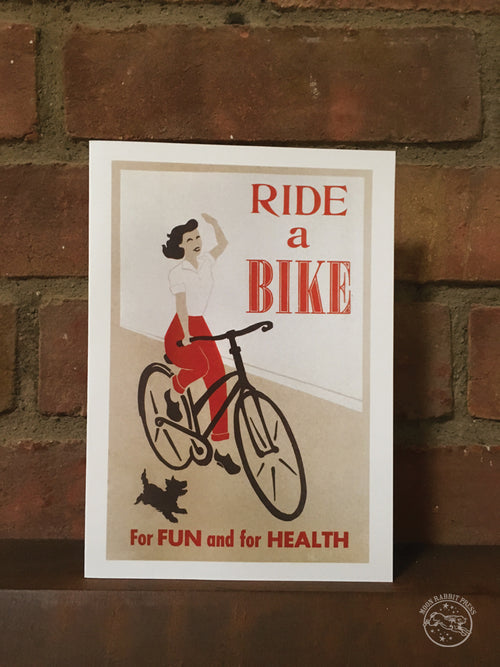 Ride a Bike, blank greeting card