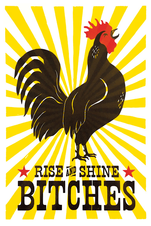 Rise and Shine • Letterpress and Linocut Fine Art Print
