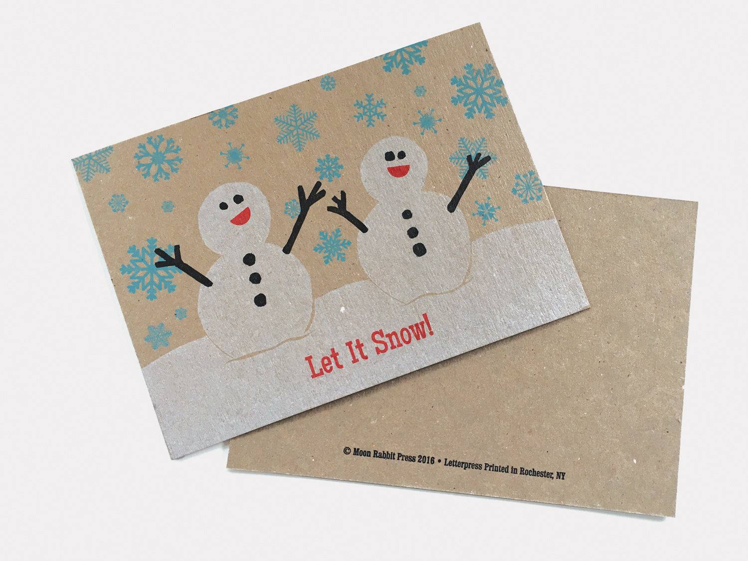 Snowmen Holiday Card, Letterpress Printed, single-sided, 5x7