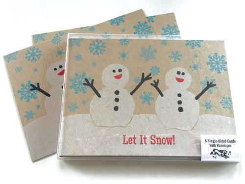 Snowmen Holiday Card, 8-Pack, Letterpress Printed, single-sided, 5x7