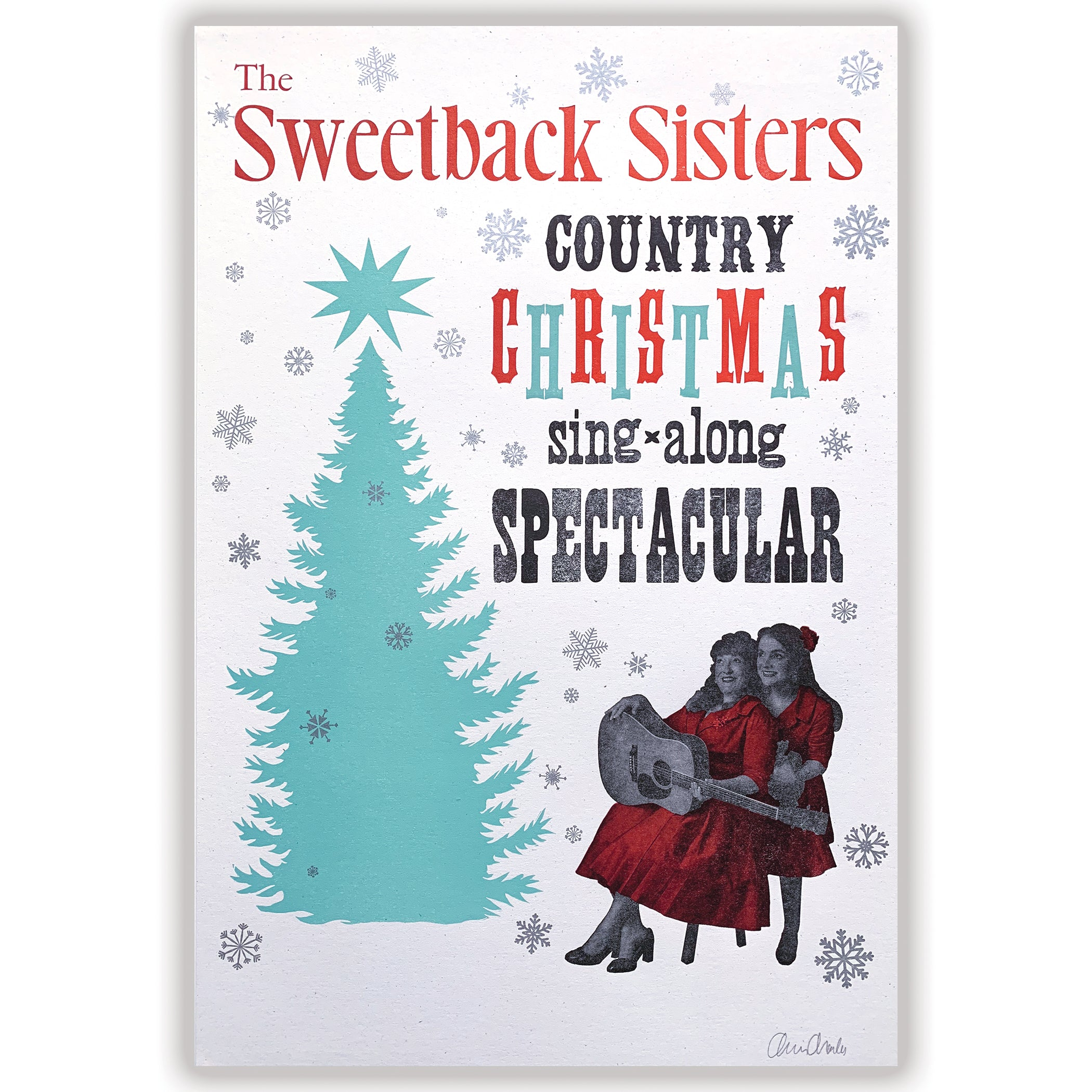 "Sweetback Sisters ""Country Christmas Sing-Along Spectacular"" letterpress poster"