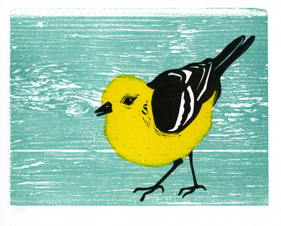 Warbler • Letterpress and Linocut Fine Art Print