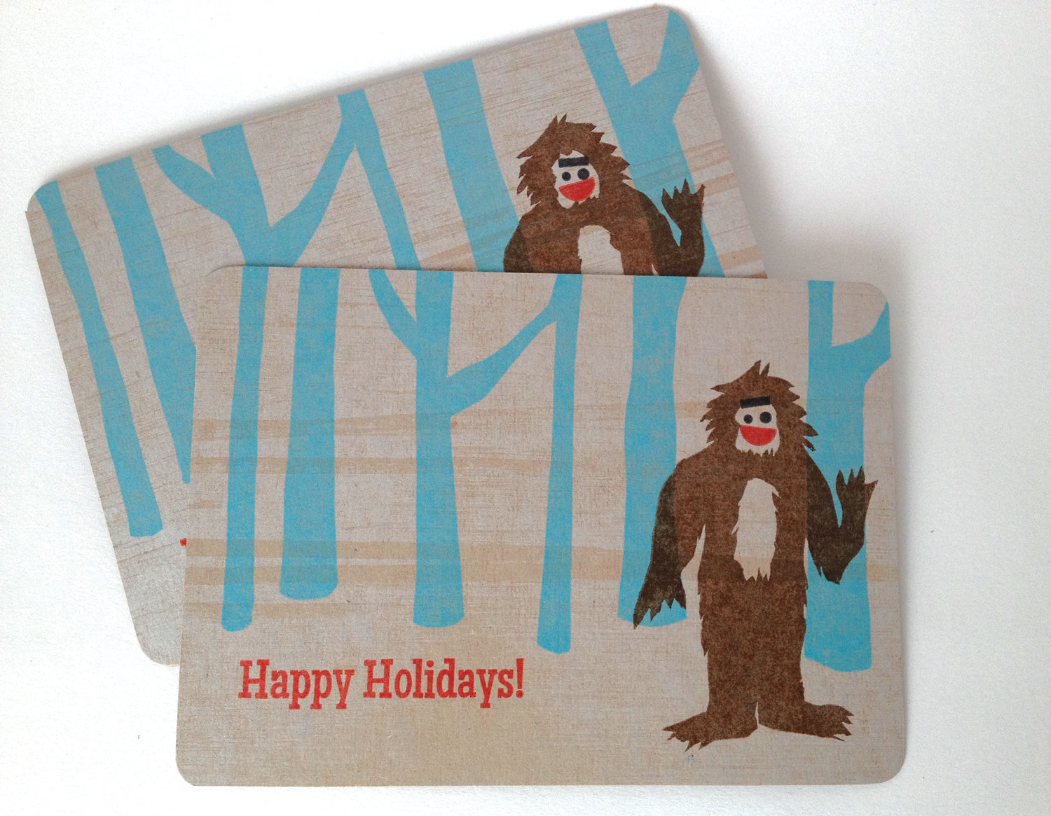 Holiday Yeti Card, Letterpress Printed, single-sided, 5x7