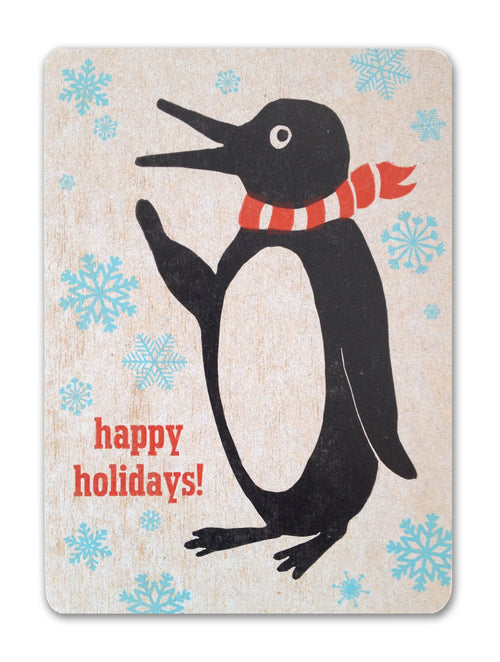 Penguin Holiday Card, Letterpress Printed, Single-Sided, 5x7