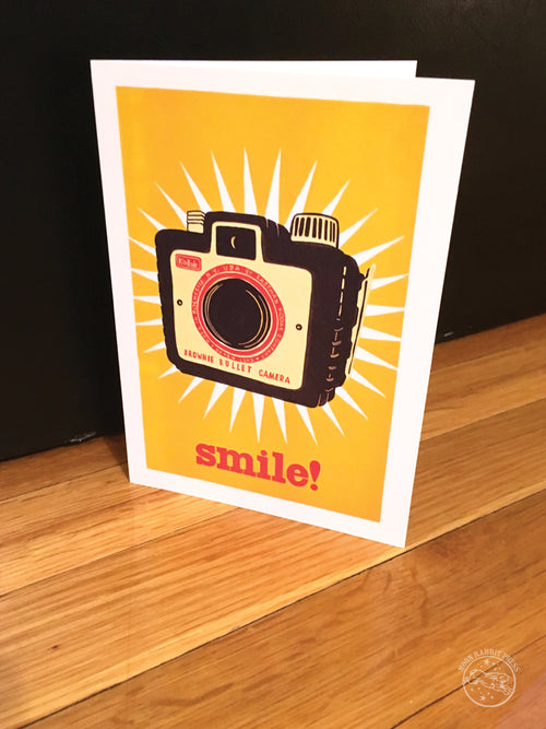 smile!, blank greeting card with vintage Kodak camera