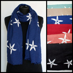 Starfish Embroidered Scarf
