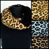 Animal Print Lined Winter Infinity Scarf