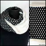 Polka Dot Lined Winter Infinity Scarf