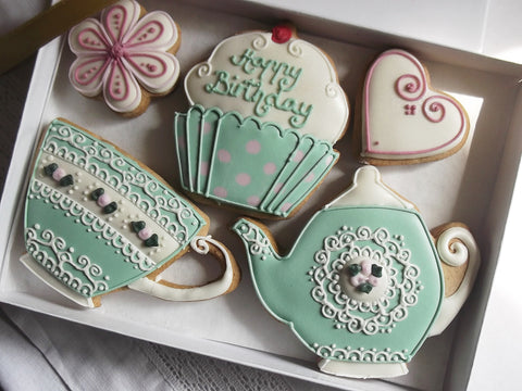Teatime Vintage Style Happy Birthday Cookie Gift Box - Can be personalised
