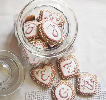 16 Mini Monogrammed Cookies In a Jar
