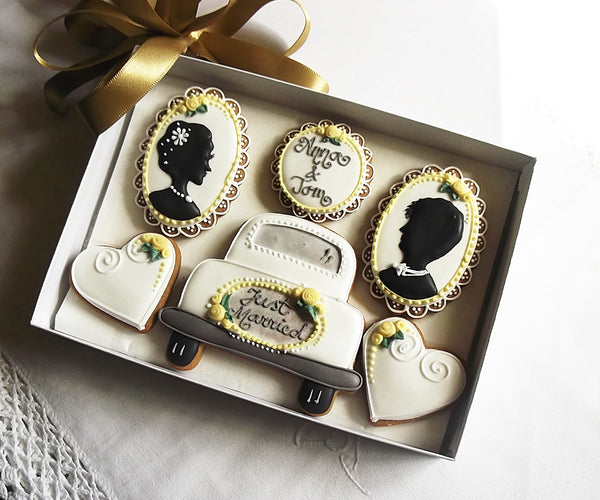 Personalised Just Married Wedding Cookie Gift Box