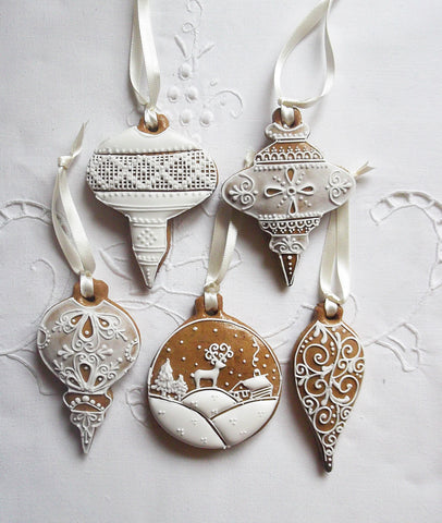 Christmas Bauble Gingerbread Hanging Decoration Set of 5