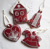6 Red Gingerbread Hanging Decorations