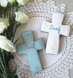 10 Personalised Christening/Baptism/Holy Communion cross biscuits