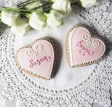 10 Personalised Heart Biscuits