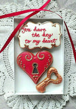 Heart Lock and Key Valentines Day Cookie Gift Box