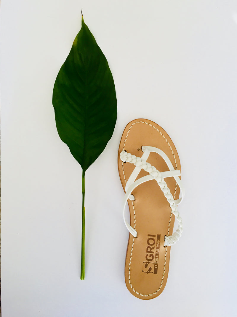 Braided White Leather Capri Sandals