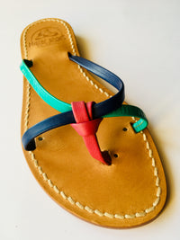 Colored Leather Capri Sandals