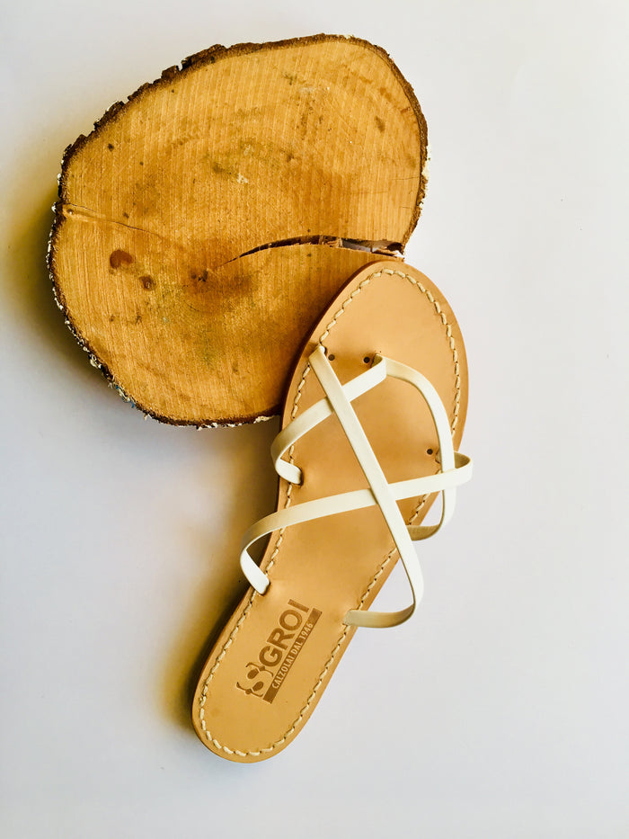 Beautiful Woven White Leather Sandals