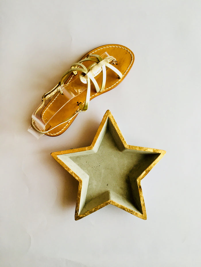 Woven Leather Gold Capri Sandals