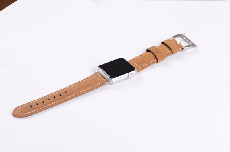 Light Brown Leather Watch Band for Apple Watch