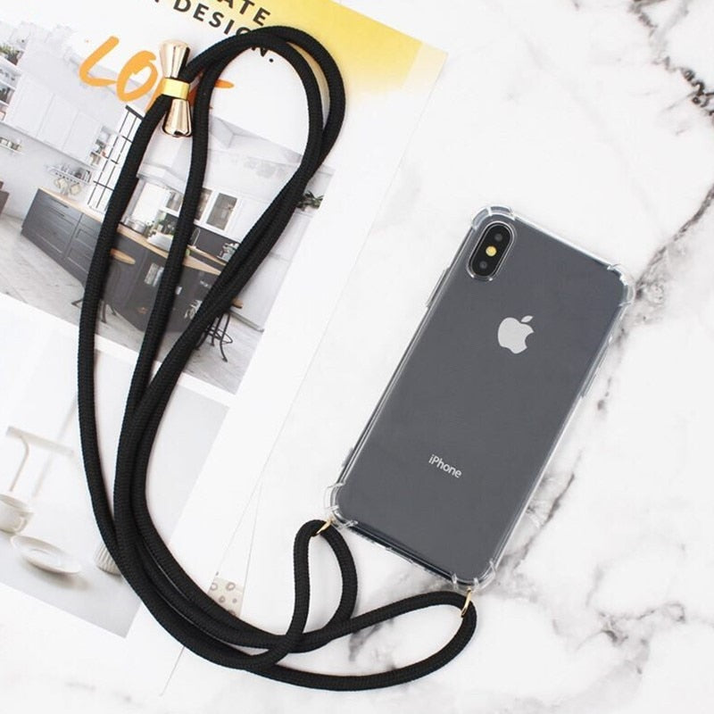 Luxury Transparent iPhone 11 Case with Crossbody Necklace