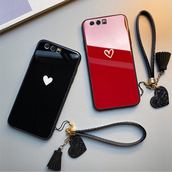 Red & Black Hearts - Luxury Tempered Glass Case for iPhone