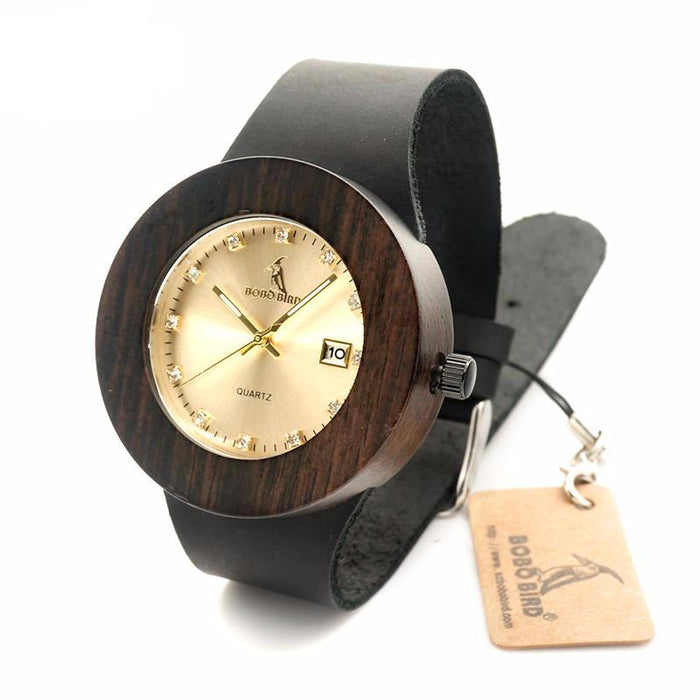 Wooden Watch With Genuine Leather Straps