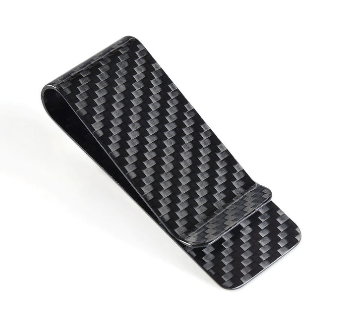 The elegant carbon fiber money clip is a perfect substitute to an uncomfortable wallet.
