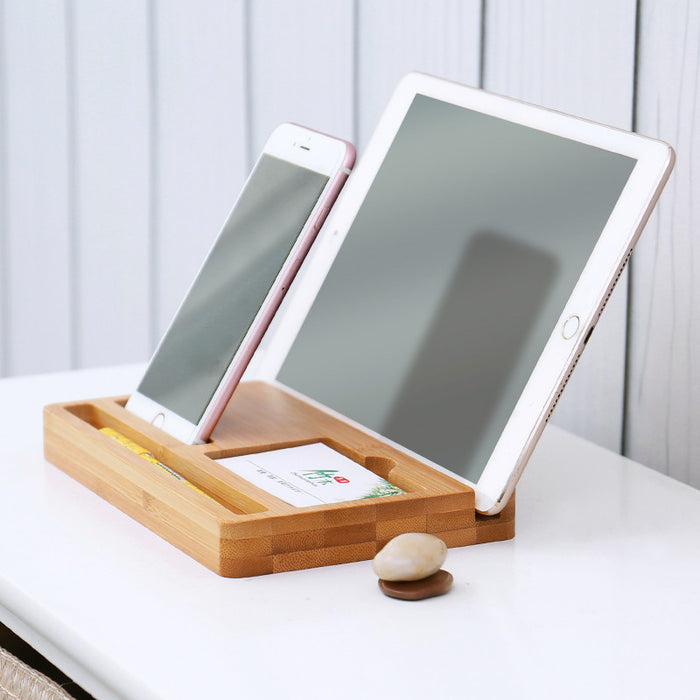Very practical Tablet and Smartphone Bamboo Dock. Watch a movie from a perfect angle while charging your device.