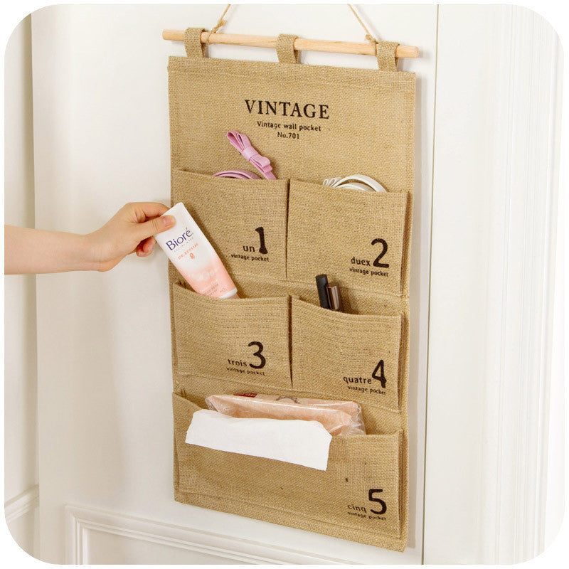 Linen Wall Hanging Storage Bag