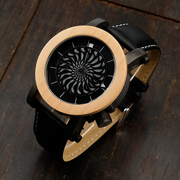 Mechanical Wooden Watch for Men with Leather Strap