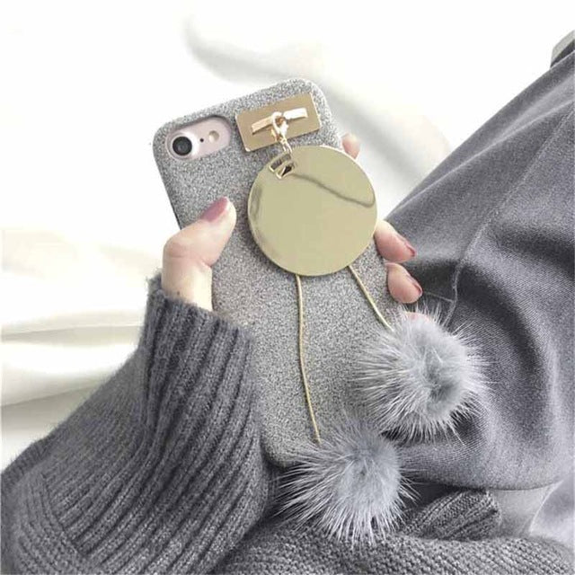 Unique Girl Case with Fur Ball for iPhone 6 6s 6 Plus 6s Plus 7 7 Plus 8 8 Plus