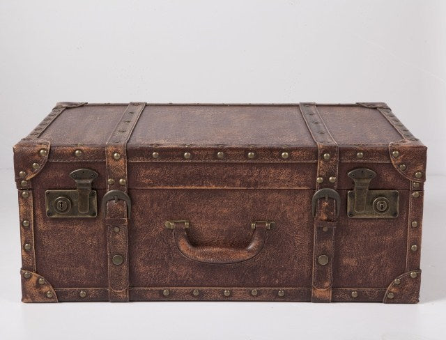 Decorative Wooden Suitcase with Leather Interior