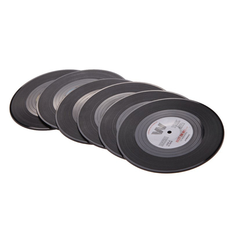 Retro Vinyl Coasters 6 Pieces Set
