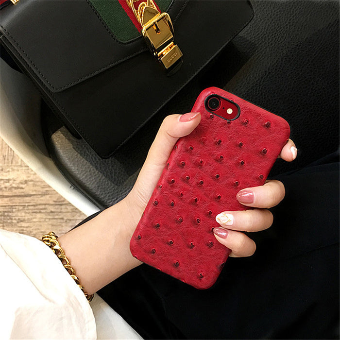 Ostrich Skin Elegant PU Leather Case for iPhone