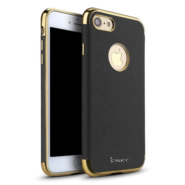 Plastic Leathered Back Cover Case for iPhone 7/ 7 Plus/ 8/ 8 Plus