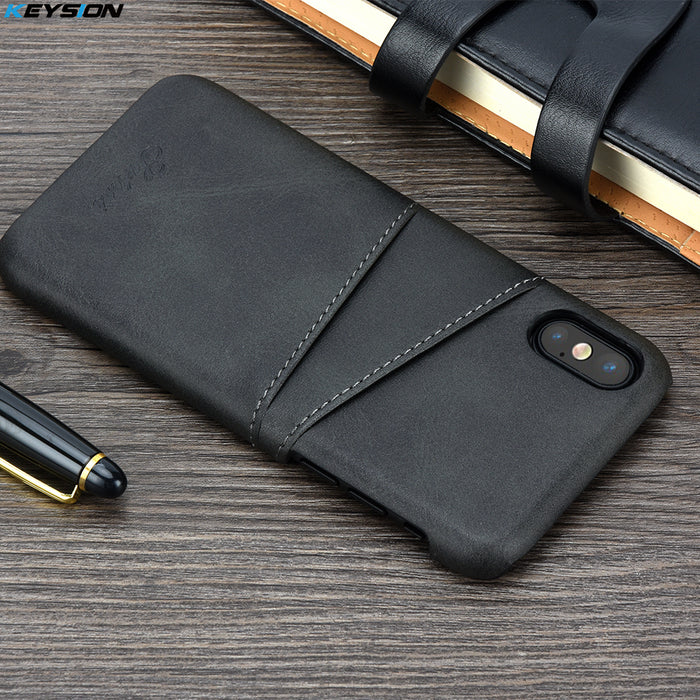 Luxury Leather Case with Card Slots For iPhone X