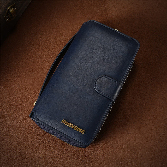 Vintage Leather Wallet iPhone Case with Card Slots