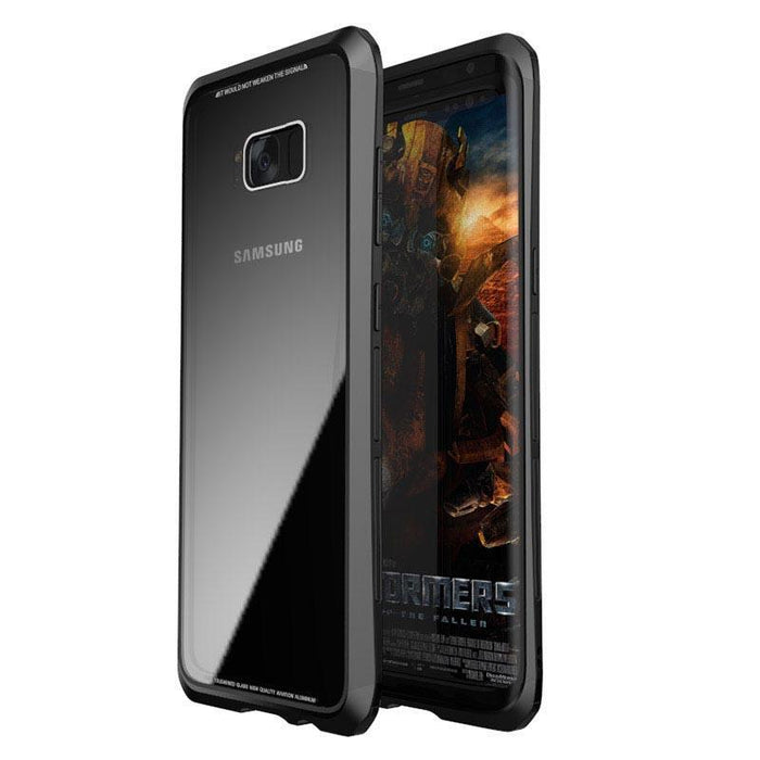 Tempered Glass Case with Metal Bumper for Samsung Galaxy S8
