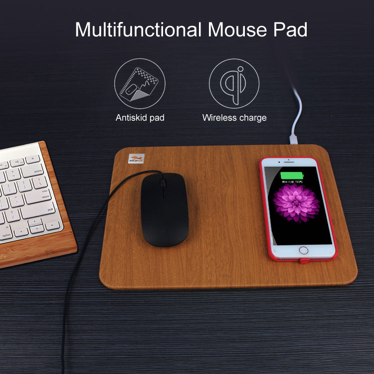 Wood Wireless Charging Mouse Pad for iPhone and Samsung