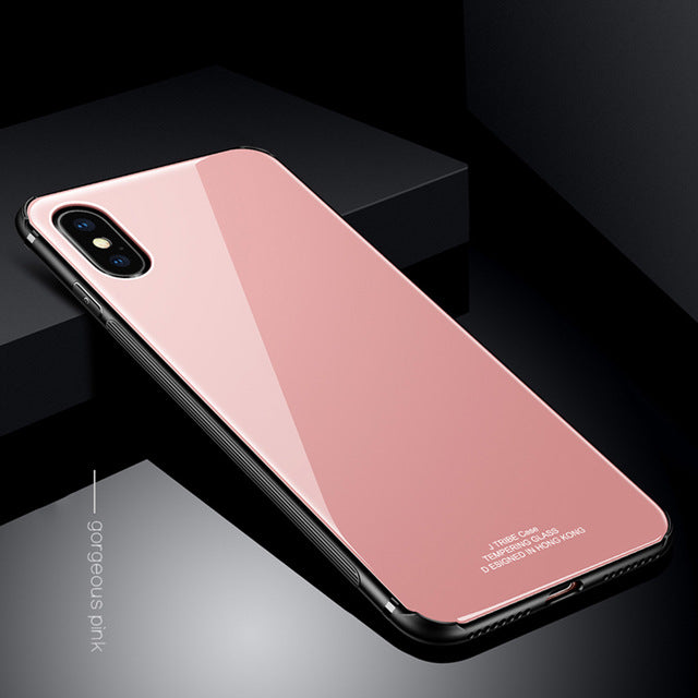 Tempered Glass Case for iPhone 7, 8 and iPhone X