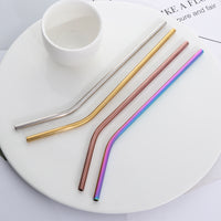 High Quality Reusable Stainless Steel Straws (4pcs) & Cleaning Brush