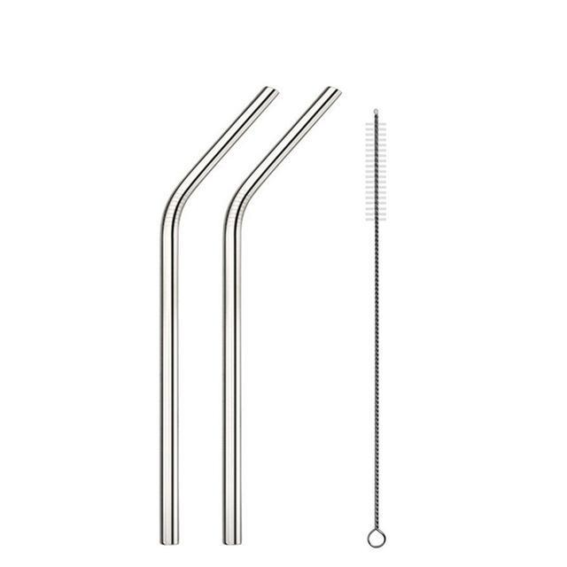 High Quality Reusable Stainless Steel Straws (2pcs) & Cleaning Brush