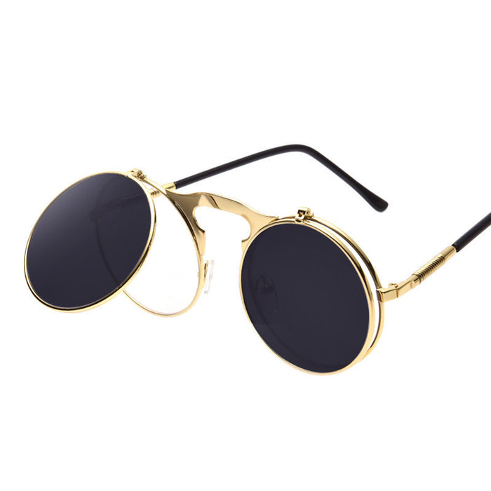 Vintage Steampunk Flip-Up Sunglasses