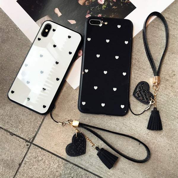 Black & White Hearts - Luxury Tempered Glass Case for iPhone