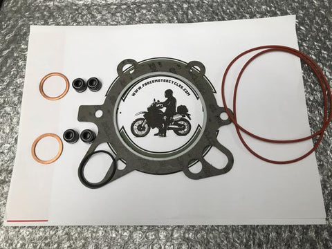 Top End Gasket Set (iron liner) for engine type 504. This set includes:  2 x O Ring Valve Cover (230-860) 1 x Cylinder Head Gasket (230-832) 1 x O Ring Cylinder Head (230-020) 2 x Copper Exhaust Seal (230-080) 4 x Valve Stem Seal (230-810) 1 x Cylinder Base Gasket (230-820)