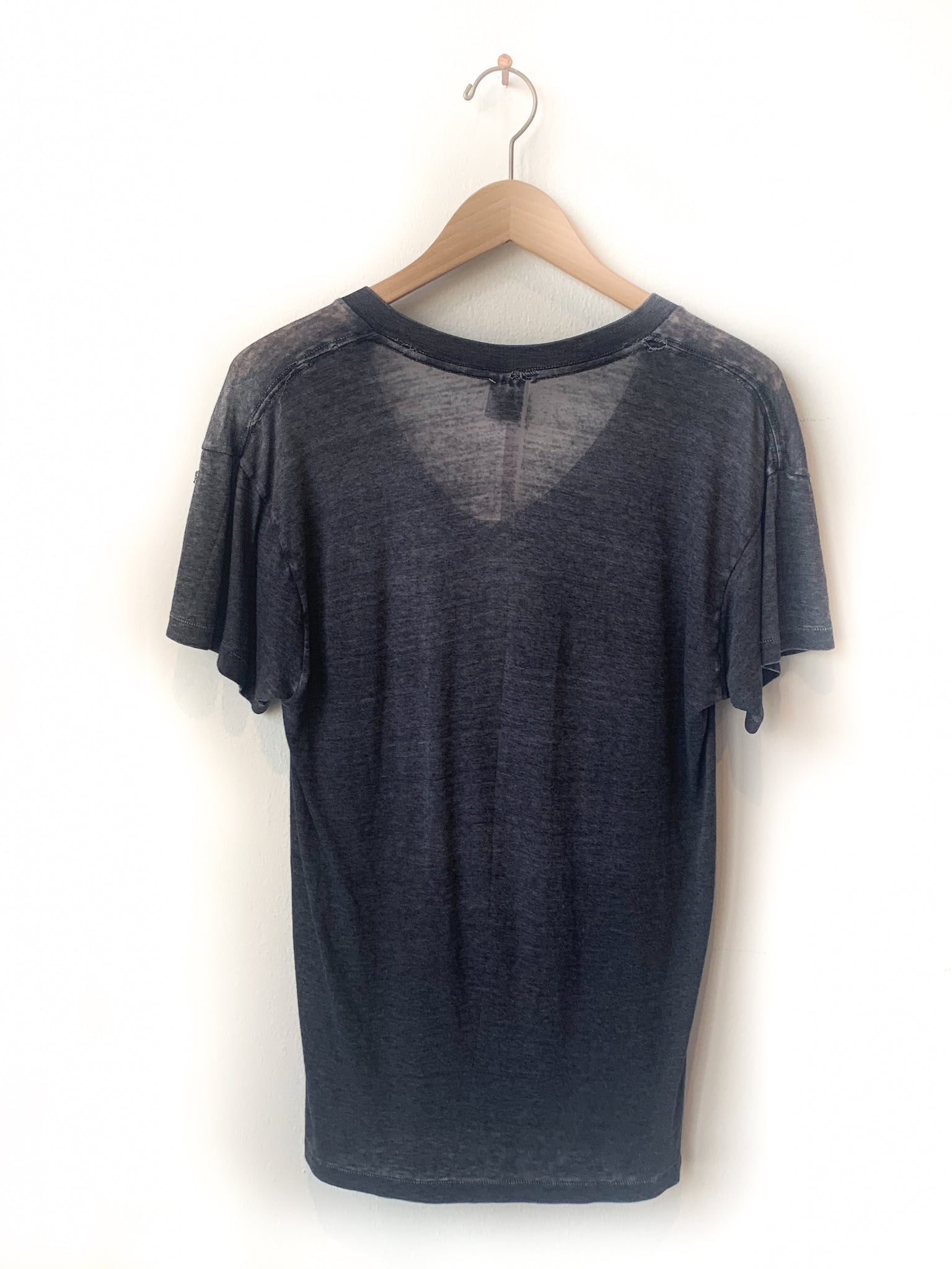 Black Burnout V neck