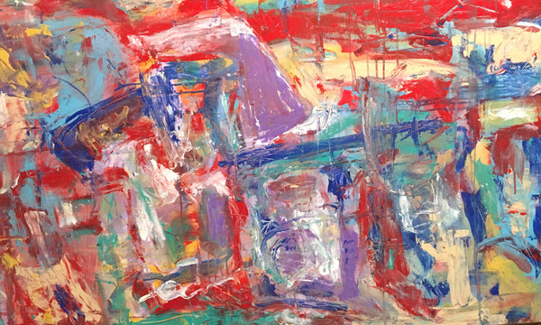 Bright reds and reals with textured brush and palette Work bring this abstract art to life.